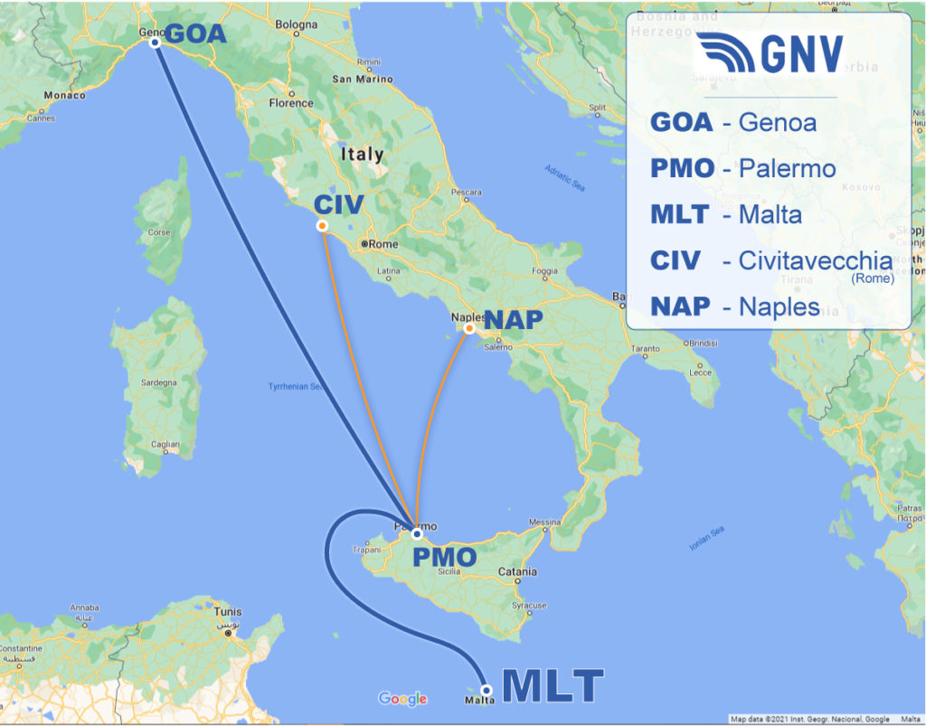 GNV routes to/from Malta